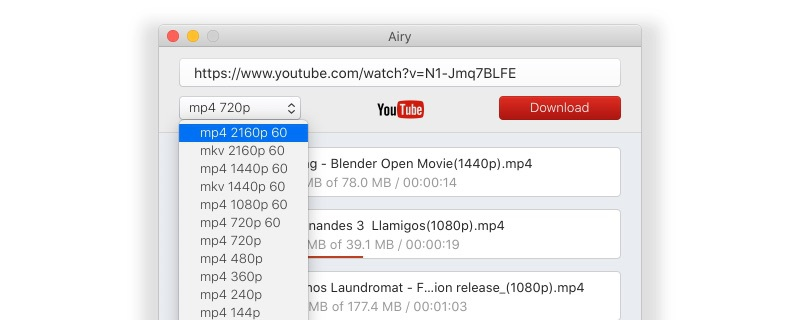 In case YouTube blocking downloads, use Airy